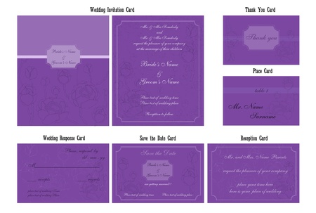 Wedding invitation card set with violet flowers Vector
