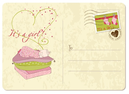baby sleeping: Baby Girl Arrival Postard Illustration