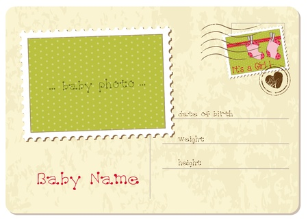 mother and baby son: Baby Girl Arrival Postard Illustration