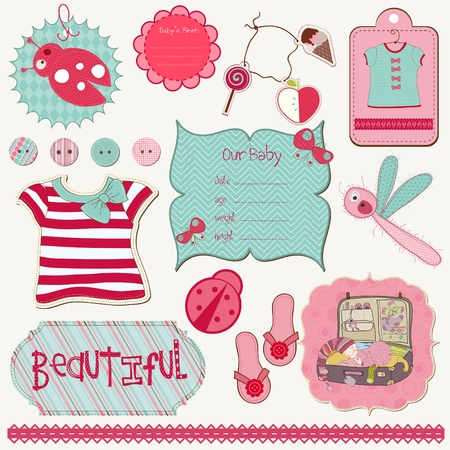 Design Elements for Baby scrapbook - easy to edit Stock Vector - 9302664
