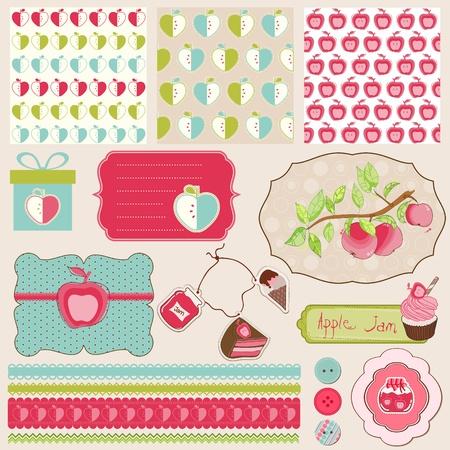 baby scrapbook: Design-Elemente f�r Baby Scrapbook mit �pfeln - einfach bearbeiten
