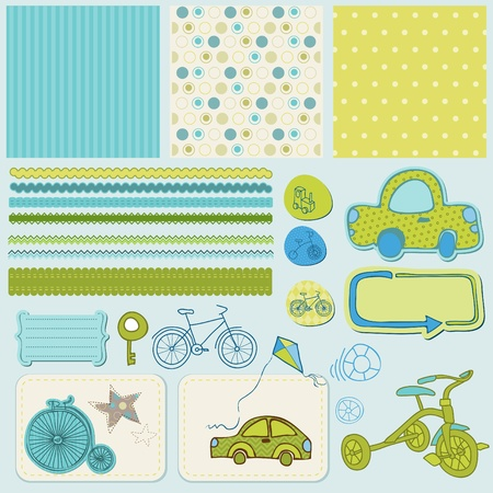 cute baby boy: Design elements for baby scrapbook  Illustration