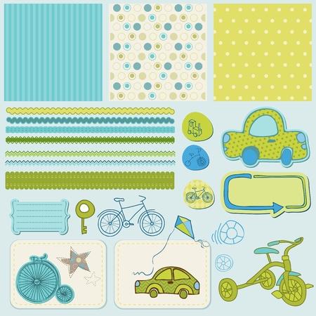 scrapbook cover: Design elements for baby scrapbook  Illustration