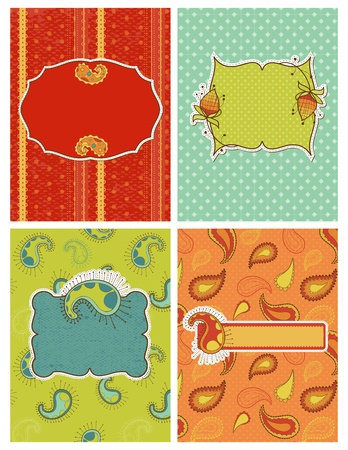 Set of Cards for invitation, announcement, greetings with paisley design Vector