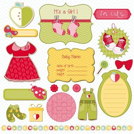 scrapbook cover: Dise�o de elementos de la colecci�n de recortes de beb� - f�cil editar