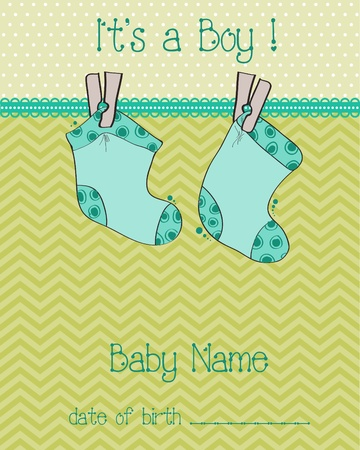 Baby Boy Arrival Card with socks Stock Vector - 9302642