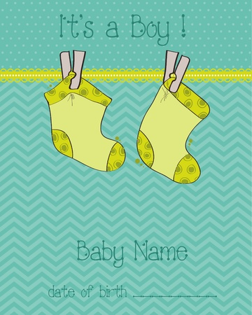 Baby Boy Arrival Card with socks Stock Vector - 9302638