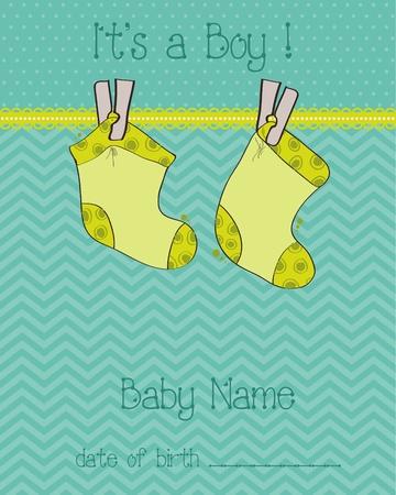 Baby Boy Arrival Card with socks Stock Vector - 9302638