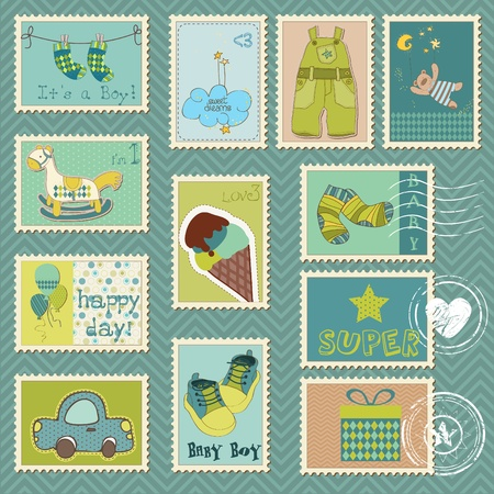 Baby Boy Postage Stamps Stock Vector - 9478794