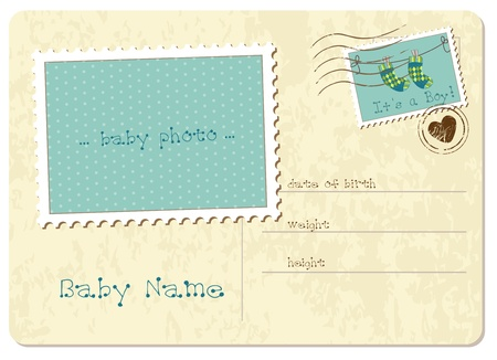 birth announcement: Baby Girl Arrival Postard Illustration