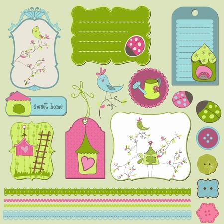 Bird House Design Elements Stock Vector - 9478741