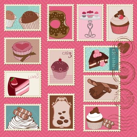 Sweet gâteaux et Desserts timbres-poste Vecteurs