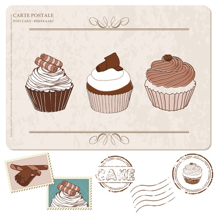 Set of cupcakes on old postcard, with stamps - for design and scrapbooking Stock Vector - 9478791