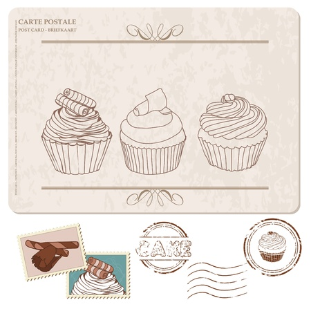 dates fruit: Conjunto de pastelitos de tarjeta postal, con sellos - para dise�o y scrapbooking