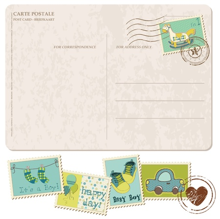 Baby Boy Arrival Postcard with set of stamps Stock Vector - 9478792