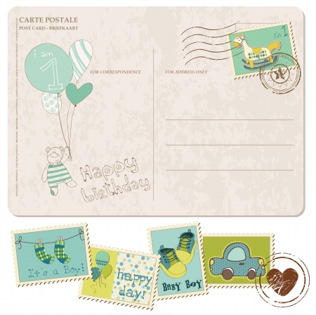 Baby Boy Arrival Postcard with set of stamps Stock Vector - 9478796