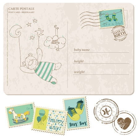 cute baby boy: Baby Boy Arrival Postcard with set of stamps Illustration
