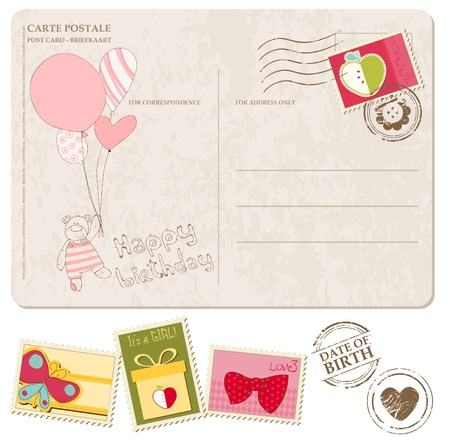 Baby Girl Arrival Postcard with set of stamps Stock Vector - 9478783