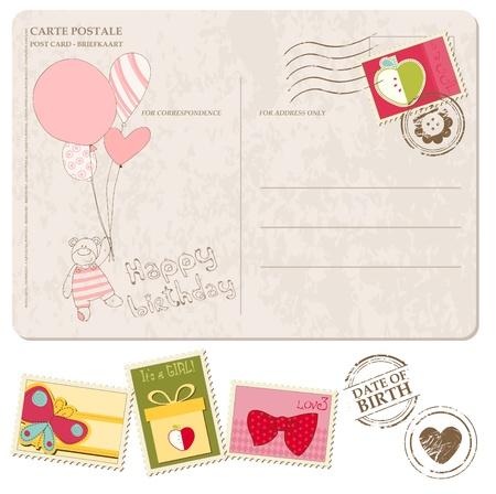 Baby meisje aankomst ansichtkaart met set van postzegels