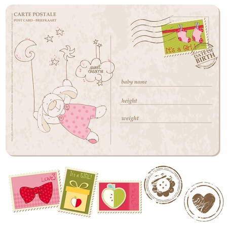 Baby Boy Arrival Postcard with set of stamps Stock Vector - 9478785
