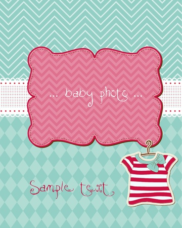 Greeting baby card - with place for your photo and text Stock Vector - 9478739