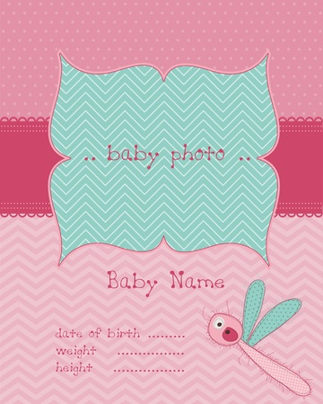 baby girl arrival: Baby Girl Arrival Card with Photo Frame Illustration
