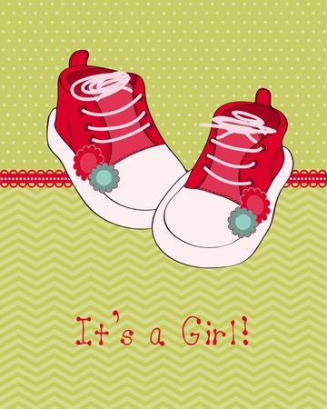 Baby Grußkarte mit Schuhen Vektorgrafik