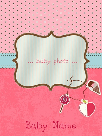 candy background: Baby Arrival Card with Photo Frame Illustration
