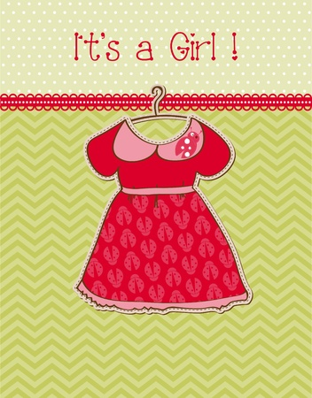 baby girl arrival: Baby Girl Arrival Card with Place for your text Illustration
