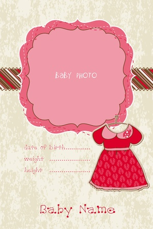 Baby Girl Arrival Card with Photo Frame Stock Vector - 9478748