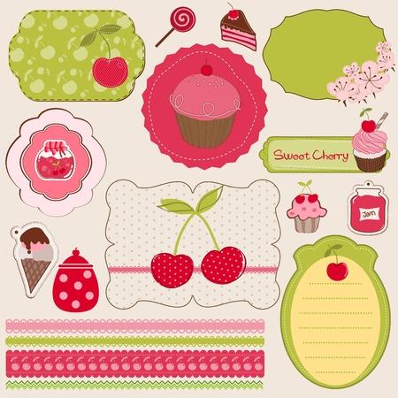 scrapbook paper: Cherry Design Elements for scrapbook - easy to edit