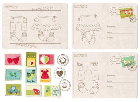 Satz von Baby Ankunft Postkarten mit Briefmarken Vektorgrafik