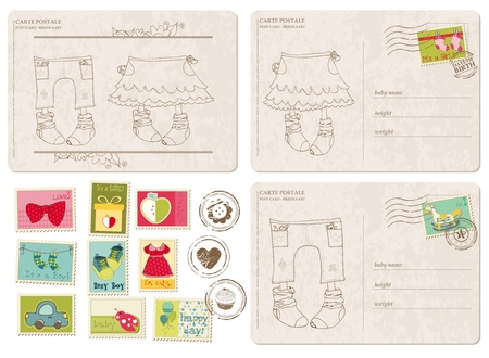 baby announcement: Set of Baby Arrival Postcards with stamps Illustration