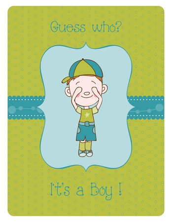 Baby Boy Arrival Card with Place for your text Stock Vector - 9478732