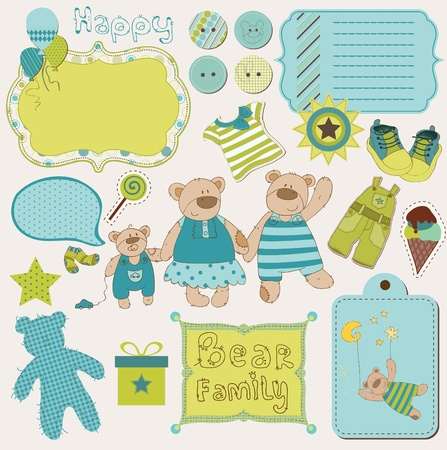Bear Family Baby Scrap - big set of design elements Vector