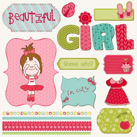 butterfly ladybird: Scrapbook Girl Set - design elements