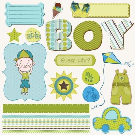 happy birthday baby: Scrapbook Boy conjunto - elementos de dise�o