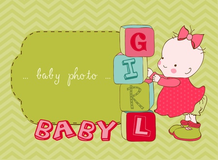 Baby Girl Arrival Card with Photo Frame in vector Vector