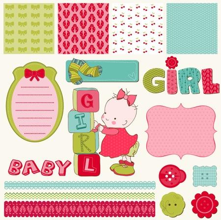 Scrapbook Baby Girl Set - design elements Stock Vector - 9600715