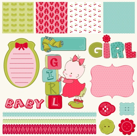 scraps: Scrapbook Baby Girl Set - design elements Illustration
