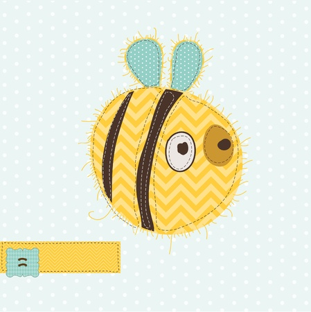 Greeting card with Bee - for scrapbook, invitation, celebration with place for your text Stock Vector - 9600709