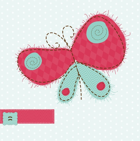 Greeting card with Butterfly - for scrapbook, invitation, celebration with place for your text Stock Vector - 9600706