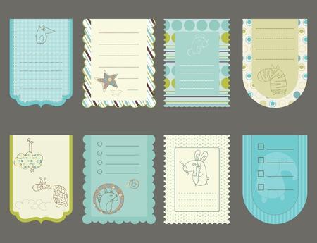 Elementos de dise�o de Bloc de notas de beb� - lindas etiquetas con animales