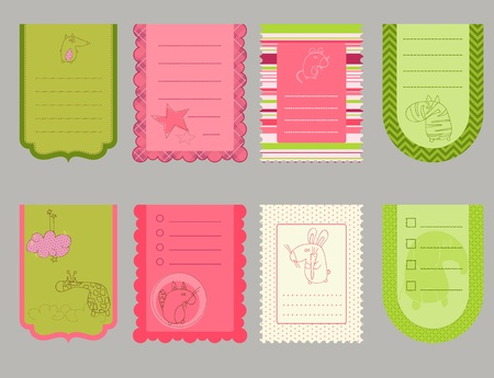 Design elements for baby scrapbook - cute tags with animals Vector