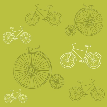 velocipede: Seamless background with Retro Bicycles - for design and scrapbook Illustration