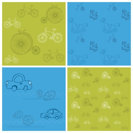 Set of Seamless backgrounds with Bikes and Cars - for design and scrapbook Vector
