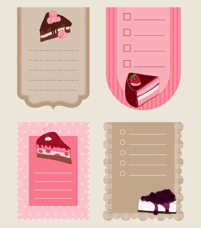 Set of Cake Tags - for design and scrapbook Stock Vector - 9600710