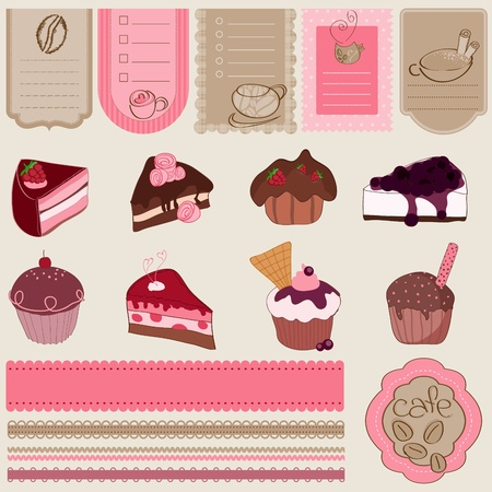 cup cake: Dessert and Sweets design element Set - for scrapbook