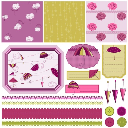 Design Elements for Scrapbook with umbrella - easy to edit  Vector