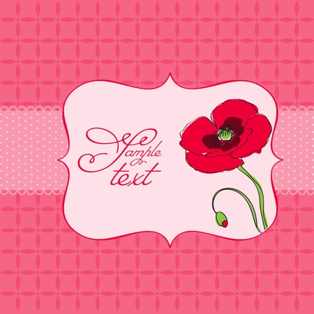 Greeting card with poppy flower - for scrapbook, invitation, celebration with place for your text Stock Vector - 9600711